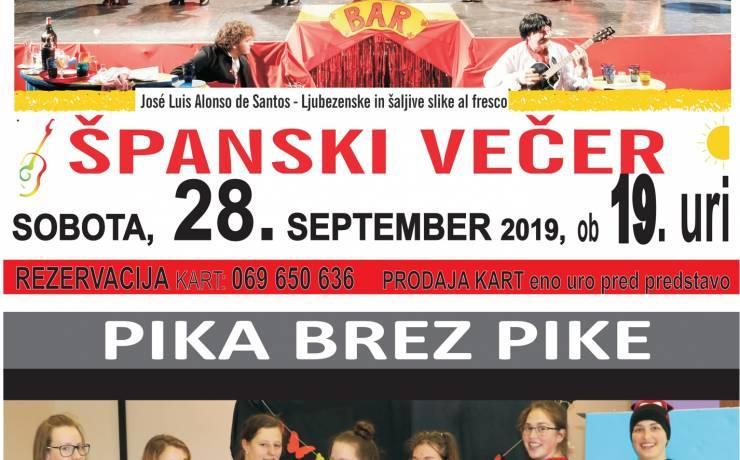 Vabilo na predstavi Španski večer ter Pika brez pike